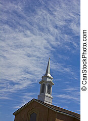 Church Steeple - An image of a church steeple with blue sky...
