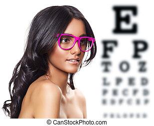 rosa, anteojos, hermoso, bronceado, mujer