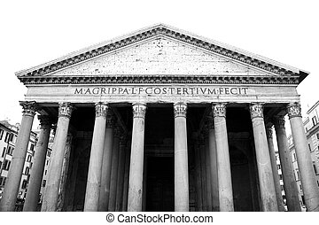 Pantheon, Rome - Facade of Pantheon in Rome. Monochrome...