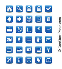 blue web icons, buttons