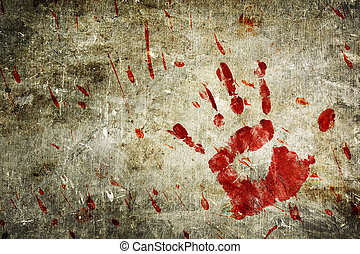 Bloody Wall - Bloody hand print and blood splatter on a...