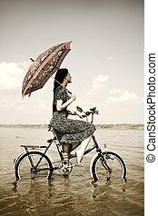 öreg, fénykép, kép, Bicikli, Esernyő, leány, mód