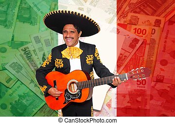 Charro Mariachi playing guitar mexican peso notes