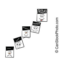 funny days of the week - conceptual illustration of weeks...