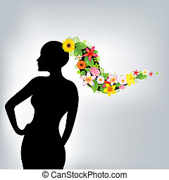 Woman And Flowers