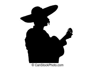 Charro Mariachi playing guitar backlight silhouette over...