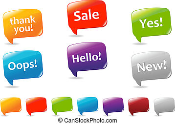 Speech Bubbles - Collection Of Colorful Speech Bubbles And...