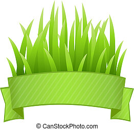 Grass Banner - Grass Set, Isolated On White Background,...