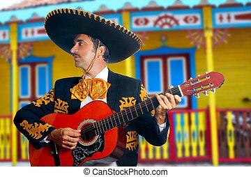 Charro, Mariachi, tocando, Guitarra, México, casas