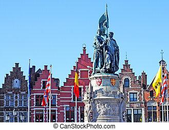 Statue of Jan Breydel and Pieter De Coninck, heroes of the...