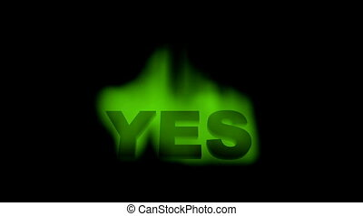 yes - motion green yes word