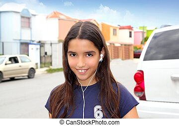 hispanic latin teenager girl earphones music - hispanic...