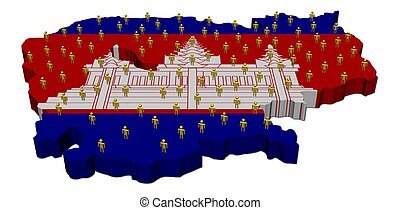 Cambodia map flag with many people