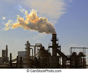 ar, poluição, um, grande, chaminé,...