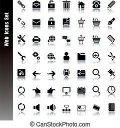 teia, ícones, jogo