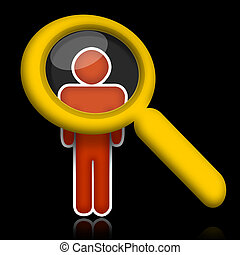 Researching Person - Abstract person under magnifier glass...