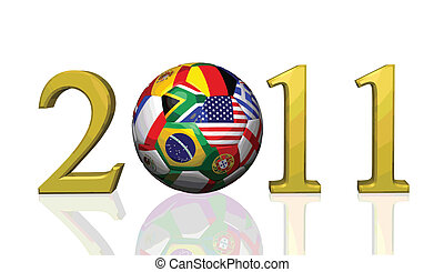 2011 background image of a soccer ball with flags from various countries isolated on a white background.