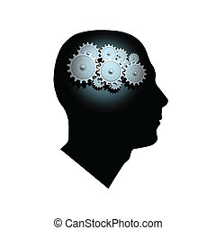 Brain Gears - Image of gears inside of a man\'s head.