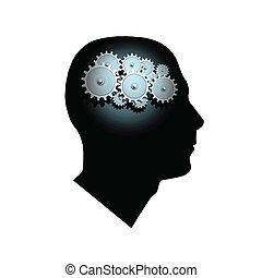 Brain Gears - Image of gears inside of a man\'s head.