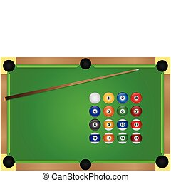 Pool Table - Image of a pool table and billiard balls.