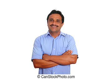 Indian latin businessman blue shirt isolated on white...