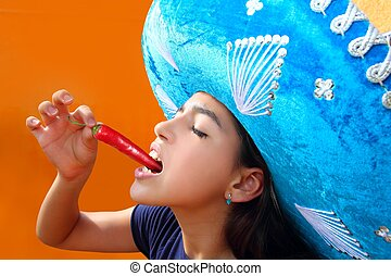 Mexicano, menina, comer, vermelho, quentes, pimentão,...