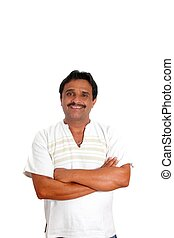 Mexican man with mayan shirt smiling isolated on white