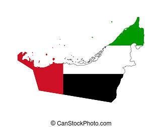 United Arab Emirates flag on map
