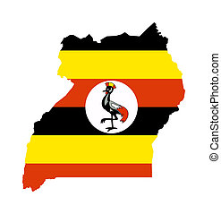 Uganda flag on map - Illustration of the Uganda flag on map...