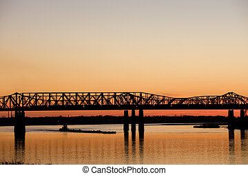 Harahan Bridge - Mississippi river under old railroad bridge...