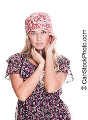Casual blonde woman on white background