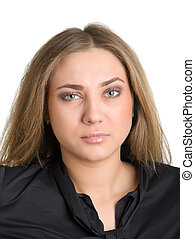 spiteful girl - Portrait of the spiteful girl in black on a...