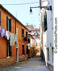 A Small Back Street in Venice Italy - A typical backstreet...