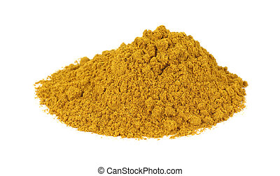 Curry powder on white background - Large pile of curry...