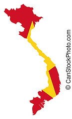Vietnam flag on map - Illustration of the Vietnam flag on...