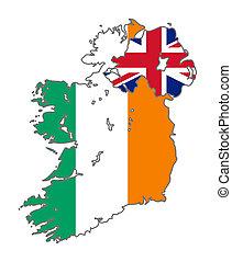 Ireland flag on map
