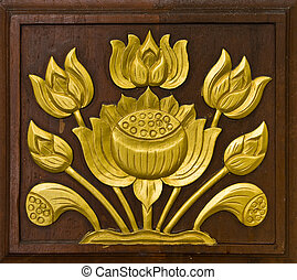 lotus carved gold paint