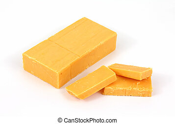Sharp cheddar cheese with slices - A bar of sharp cheddar...