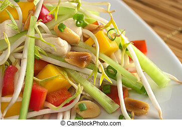 Fresh Asian salad with chicken, mango, cucumber, bean sprouts, red bell pepper and peanuts (Selective Focus, Focus on the peanut and the chicken in the middle left upper part)