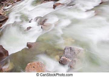 Rocky Mountain stream taken with a long exposure moving from...