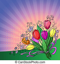 Flower background, tulips