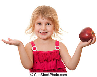 Little girl in red with red apple - A closeup portrait of a...