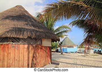 tropical wood hut palapa in Cancun Mexico Quintana Roo