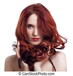retrato, hermoso, joven, mujer, brillante, Maquillaje