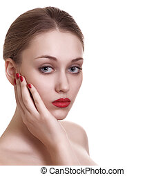 portrait of sexy caucasian young woman with red bright manicure