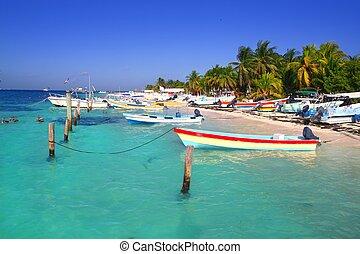 Isla Mujeres Mexico boats turquoise Caribbean sea Quintana...
