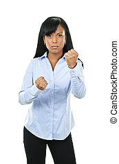 Young woman ready to fight - Fighting black woman showing...