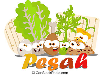 Passover food - Cartoon Passover seder foods together