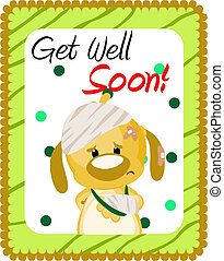 Get well soon greeting with injured dog