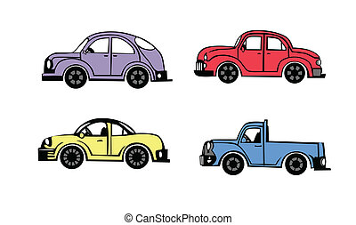 4 cars - 4 cartoon cars